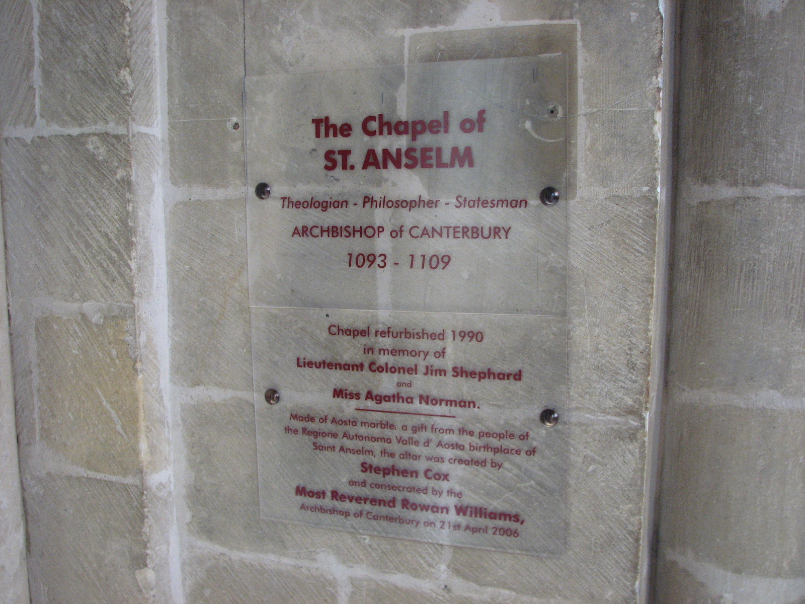 St Anselms Chapel In Canterbury Cathedral